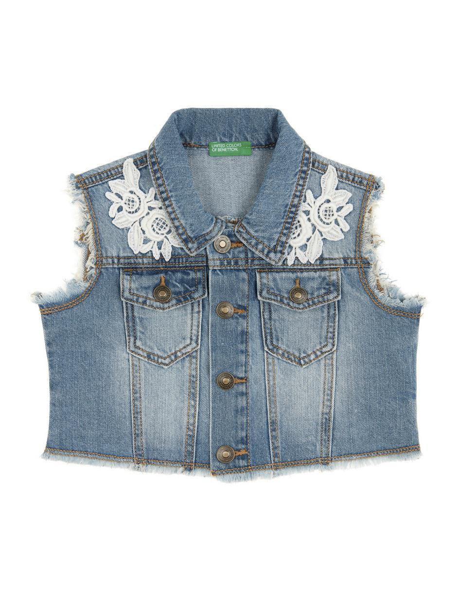 en stock colores armoniosos nuevas variedades Chaleco denim Benetton algodón para niña